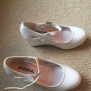Girl's Platform White Patent Shoes